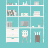 Home office 4. Home office interior in flat design. EPS 8 vector file Royalty Free Stock Photography