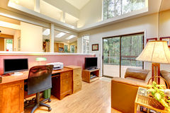 Home office interior with large windows. Royalty Free Stock Photography