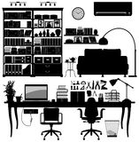 Home Office Library SOHO Vector. A big set of home office equipment and the interior design for it Royalty Free Stock Image