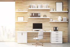 Home office with light wood panels, toned Royalty Free Stock Photography