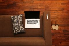 Home Office, Notebook, Home, Couch Stock Images