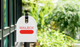 Home office red Metal Mailbox Royalty Free Stock Image
