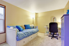 Home office room in beige tone walls. Stock Photo