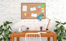 Home office room interior in modern and loft decoration Stock Photos