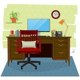 Home office scene with computer, wooden desk and chair. Stylized and cozy home office scene. Wooden desk and chair with with computer and office supplies, lamp Royalty Free Stock Photo