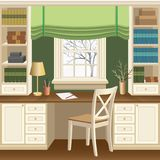 Home office or study room interior with table below the window, bookcases and chair Stock Photos