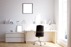 Home office with two posters. Home office interior with desk, chair and shelf. Poster on wall. Concept of freelance job. 3d rendering. Mock up Royalty Free Stock Images