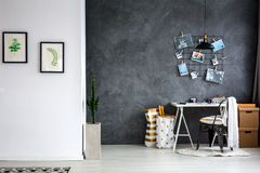 Home Office With Grey Wall Royalty Free Stock Photo