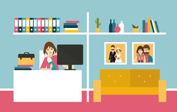 Home office. Woman work day in home interior. Royalty Free Stock Image