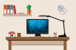 Home or office working place. With computer, lamp etc. - vector illustration Royalty Free Stock Photography