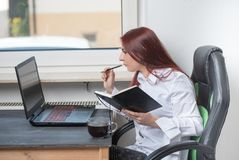 Home office working woman, small business