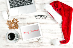 Home Office Workplace. Coffee, Cookies, Christmas Decoration Royalty Free Stock Images