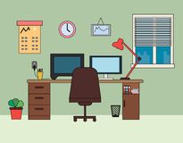 Home office, workplace flat vector illustration. Home office, workplace interior of the room flat vector illustration. Home office and home work concept. Room royalty free illustration
