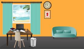 Home office. Workplace in home office. work space on wall with big window. vector illustration stock illustration