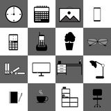 Home office workspace technology web icon set vector. Coffee business Royalty Free Stock Photo
