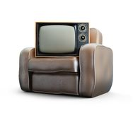 Home old leather armchair tv Stock Image