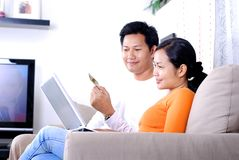 Home online shopping. Couple make the online shopping together