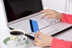 home online-shoppingkvinna arkivbild