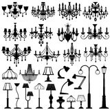 Home and outdoor lightning, lamps and chandeliers vector set royalty free illustration