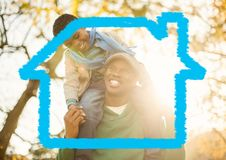 Home outline with father carrying his son on shoulders. Digital composition of home outline with father carrying his son on shoulders Royalty Free Stock Image