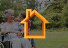 Home outline with granny and granddaughter in park Stock Photography