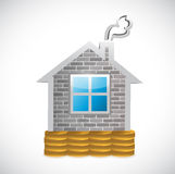 Home over coins illustration design Stock Photo