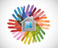Home over diversity hands circle illustration Stock Photo