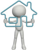 Home owner person holding up 3D outline house Royalty Free Stock Images