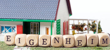 Home Ownership. House and wooden dice with the german word Home Ownership Royalty Free Stock Photography