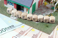 Home Ownership. House and wooden dice with the german word Home Ownership Stock Photos