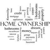 Home Ownership Word Cloud Concept in black and white. With great terms such as property, dream, pride, bank and more Stock Photo