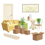 Home packing and moving illustration. Home goods, cardboard boxes. Stock Photography