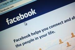 Home Page de Facebook Imagen de archivo libre de regalías