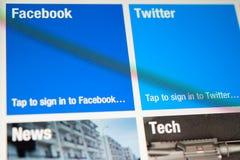 Home Page de Flipboard en una nueva exhibición de Ipad Fotografía de archivo libre de regalías