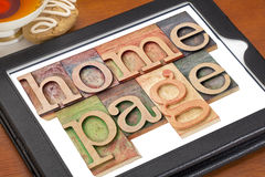 Home page on digital tablet Stock Images