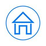Home Page, linea circolare icona della Camera Segno variopinto rotondo Simbolo piano di vettore di stile Immagine Stock