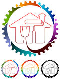 Home painting logo. Line art isolated colorful home logo design Royalty Free Stock Photos