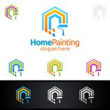 Home Painting Vector Logo Design. Painting Service vector Logo design Royalty Free Stock Image