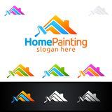 Home Painting Vector Logo Design. Painting Service vector Logo design Stock Photos