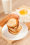 Home pancakes, flour and eggs Royalty Free Stock Photography