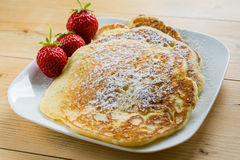 Home pancakes with strawberry Stock Photo
