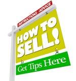 HOME para o sinal da venda como vender a informação do conselho Fotos de Stock