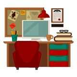 Home parlor workplace furniture accessories vector flat icons. Home parlor workplace furniture and interior accessories and supplies. Vector flat icons set of Royalty Free Stock Images