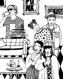 Home party with dancing, drinking young people, music. hand drawn black and white illustration. Royalty Free Stock Photos