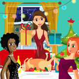 Home Party New Year or Christmas. Feast guests and giving gifts. Stock Image