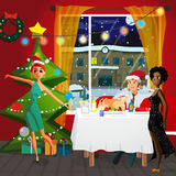 Home Party New Year or Christmas. Stock Images