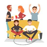Home party. People play video games and have fun. royalty free illustration