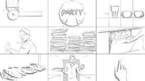 Home party storyboard. Young man in his apartment vector illustration