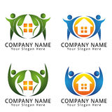 Home with People and leaf Concept Logo Royalty Free Stock Photography