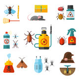 Home pest control expert exterminator service flat icons set with rat and cockroach abstract isolated vector Stock Image